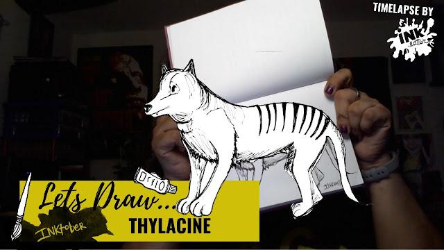 Drawing the Thylacine - Exploring Cryptids Worldwide | Inktober
