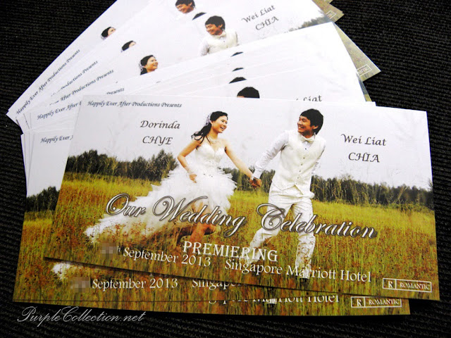 offset wedding card, concert ticket, handmade, sticker, wedding favour, singapore, marriott hotel