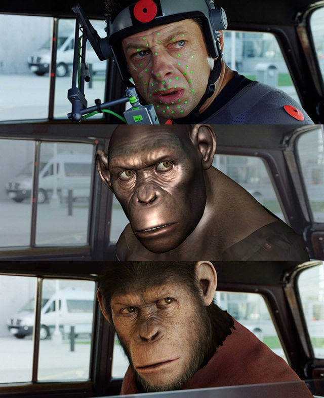 60 Iconic Behind-The-Scenes Pictures Of Actors That Underline The Difference Between Movies And Reality - Andy Serkis monkeying around on the set from Planet Of The Apes movies.