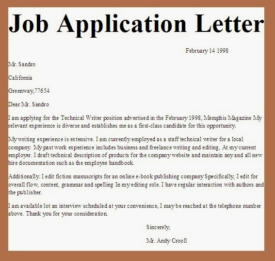 Formal letter of application for a job