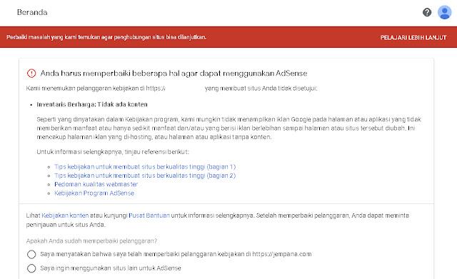 Ditolak Google Adsense karena Melanggar Kebijakan dan Penyelesaiannya