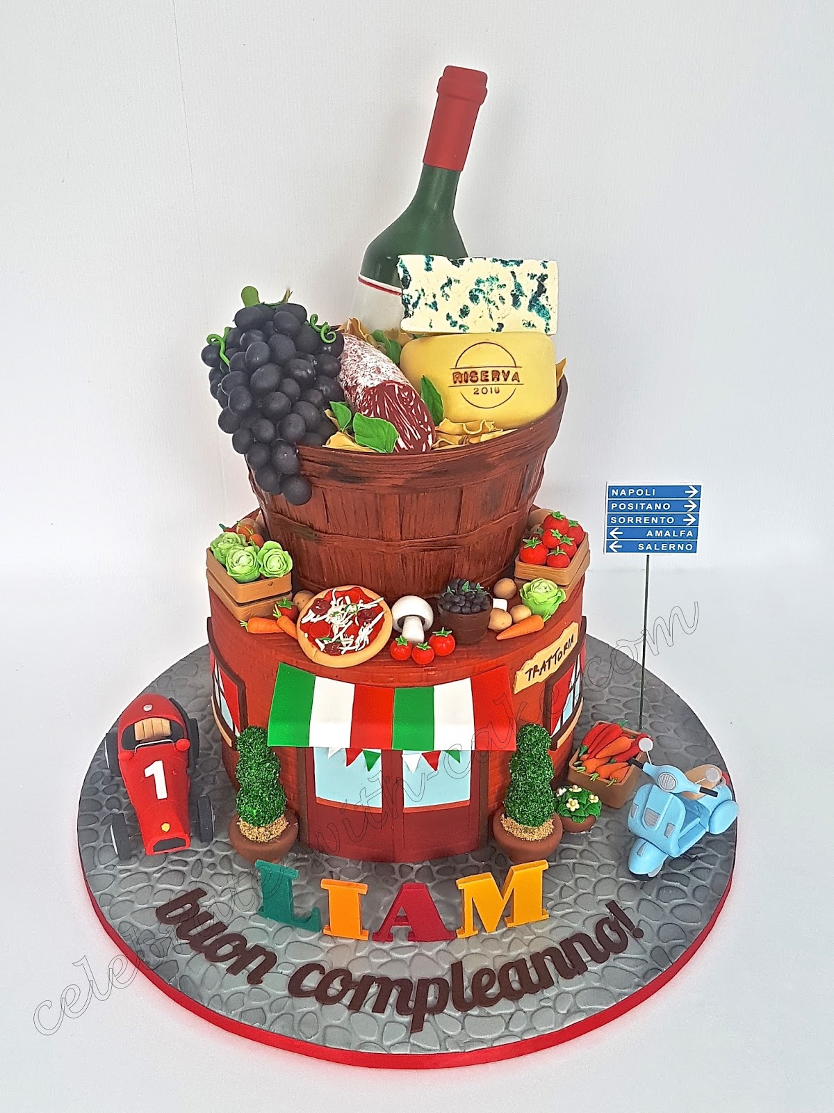 Pleasant Celebrate With Cake Italy Themed 2 Tiers Cake Personalised Birthday Cards Beptaeletsinfo
