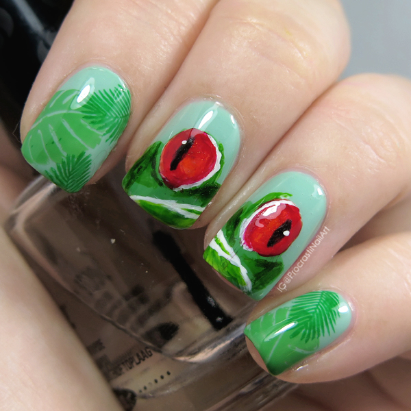 The Digit-al Dozen Does Rainforest: Freehanded Red Eyed Tree Frog Nail Art