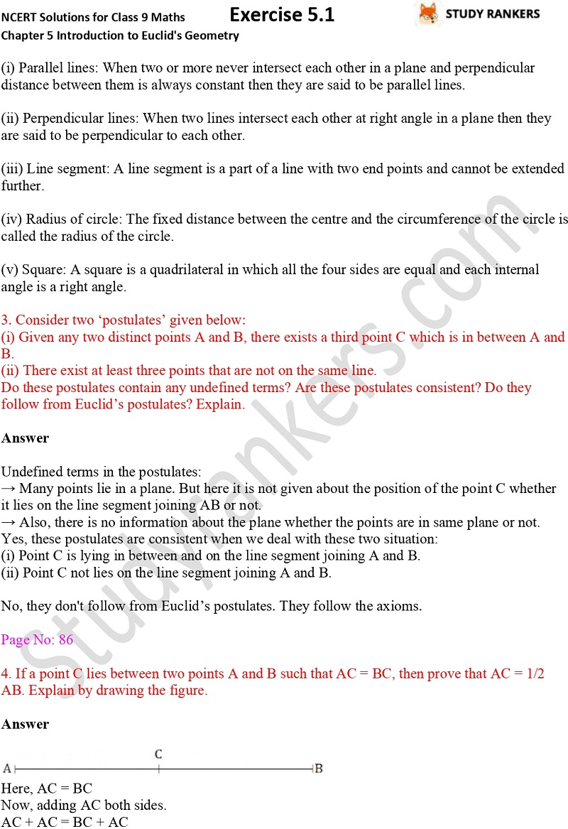 NCERT Solutions for Class 9 Maths Chapter 5 Introduction to Euclid's Geometry Exercise 5.1 Part 2