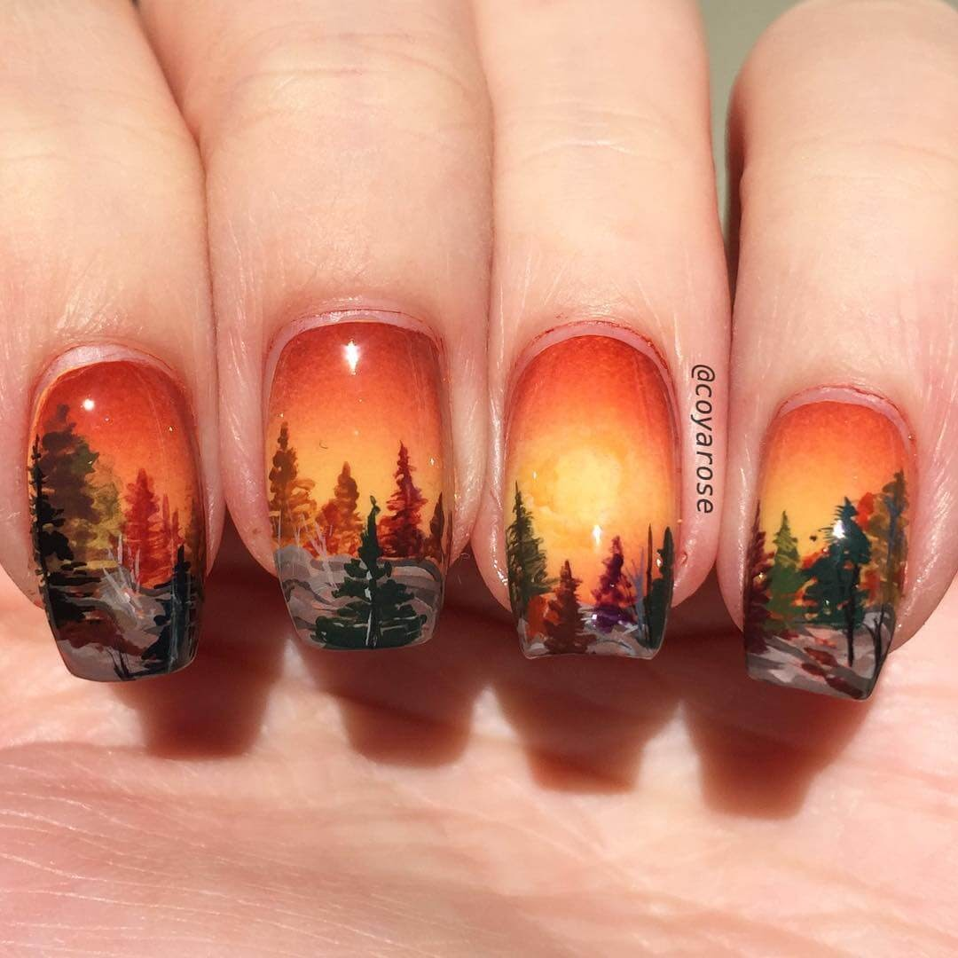 07-Autumnal-mountain-Nicoya-Grobman-Free-Hand-Nail-Art-Designs-www-designstack-co