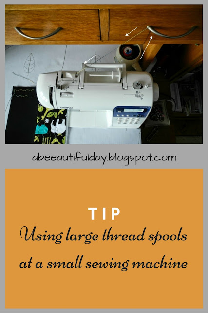 Tip-Using large thread spools at a small sewing machine-abeeautifulday.blogspot.com