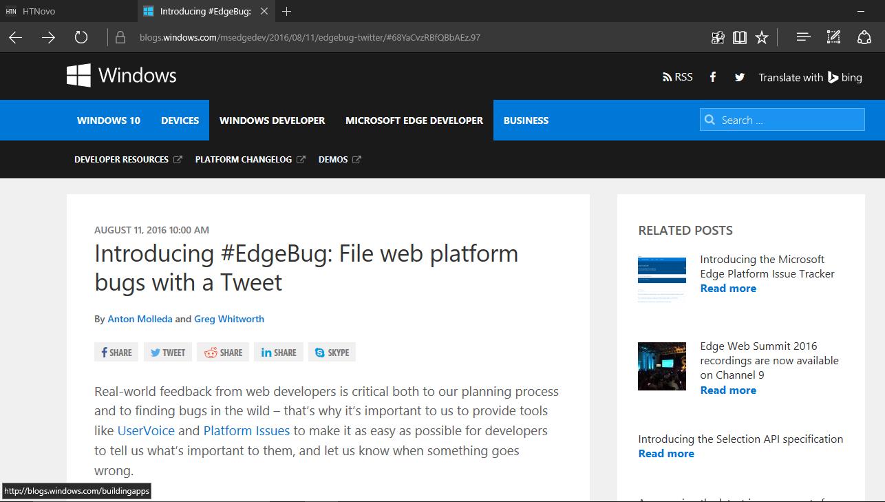 #EdgeBug individuazione e segnalazione di Jo Val (HTNovo)