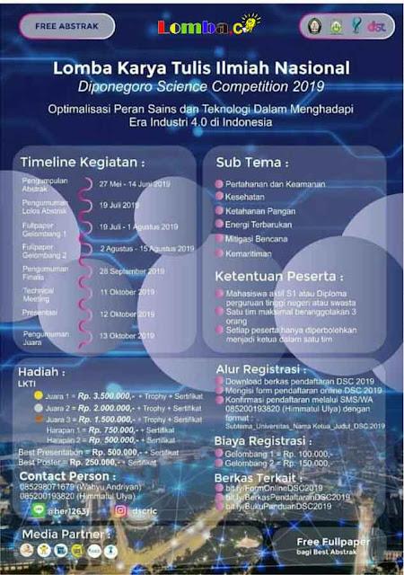 Lomba LKTI Nasional Diponegoro Science 2019 Untuk Mahasiswa