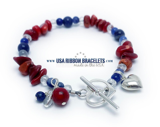 Patriotic Red White and Blue Jewelry with a Heart Charm and a  Heart Toggle Clasp