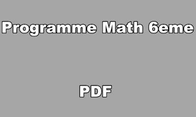 Programme Math 6eme PDF