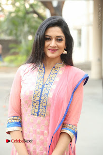 Actress Vimala Raman Stills in Beautiful Pink Salwar Kameez at (ONV) Om Namo Venkatesaya Press Meet  0225.JPG