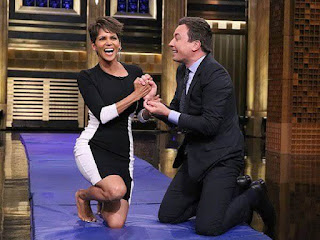 Sexy Halle Berry and Jimmy Fallon hamster wheel