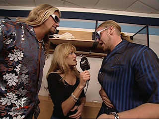 WWE / WWF - No Mercy 2000 - Edge and Christian talk to Lilian Garcia about their nuts