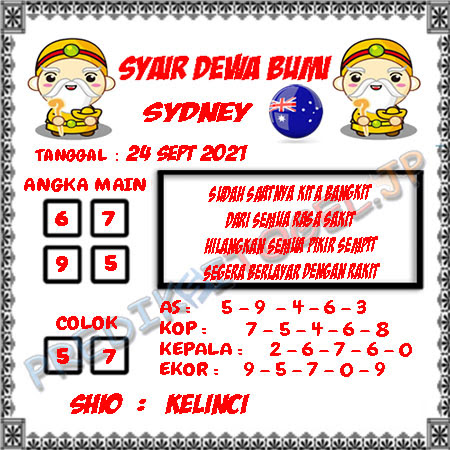 Syair Dewa Bumi Sidney Hari Ini 24-09-2021