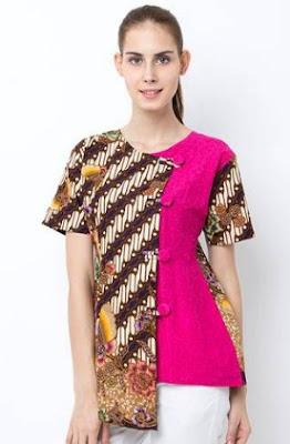 Gambar busana batik kombinasi polos