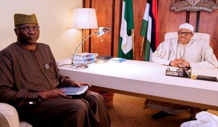 New SGF, Boss Mustapha Resumes Office, Meets Buhari