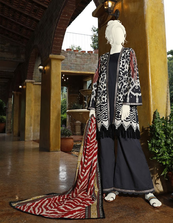 J. Junaid Jamshed winter unstitched collection black printed cambric suits