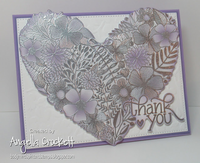 Simon Says Stamp 'Floral Heart', Divinity Designs LLC Pierced Rectangles Dies; Card Designer Angie Crockett