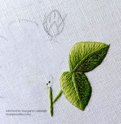 Outline for needlepainted flower bud prior to stitching