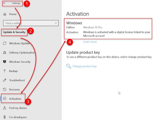 Pengaturan aktivasi Windows 10