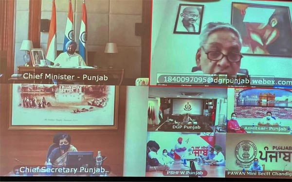 Chief Minister Captain Amarinder Singh during virtual meeting to review the Covid situation in the state