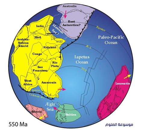 مواقع الكتل الارضية في نهاية ما قبل الكامبري