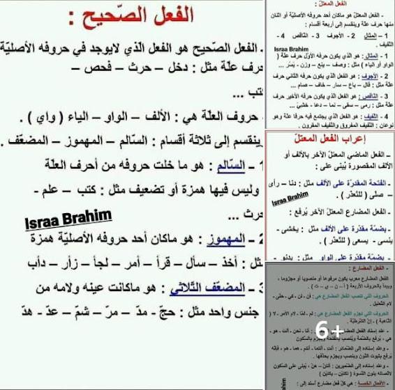ملخصات هامة في قواعد اللغة العربية للسنة الخامسة إبتدائي