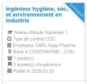 Employeur : SARL Hupp Pharma Ingénieur hygiène, sécurité et environnement en industrie