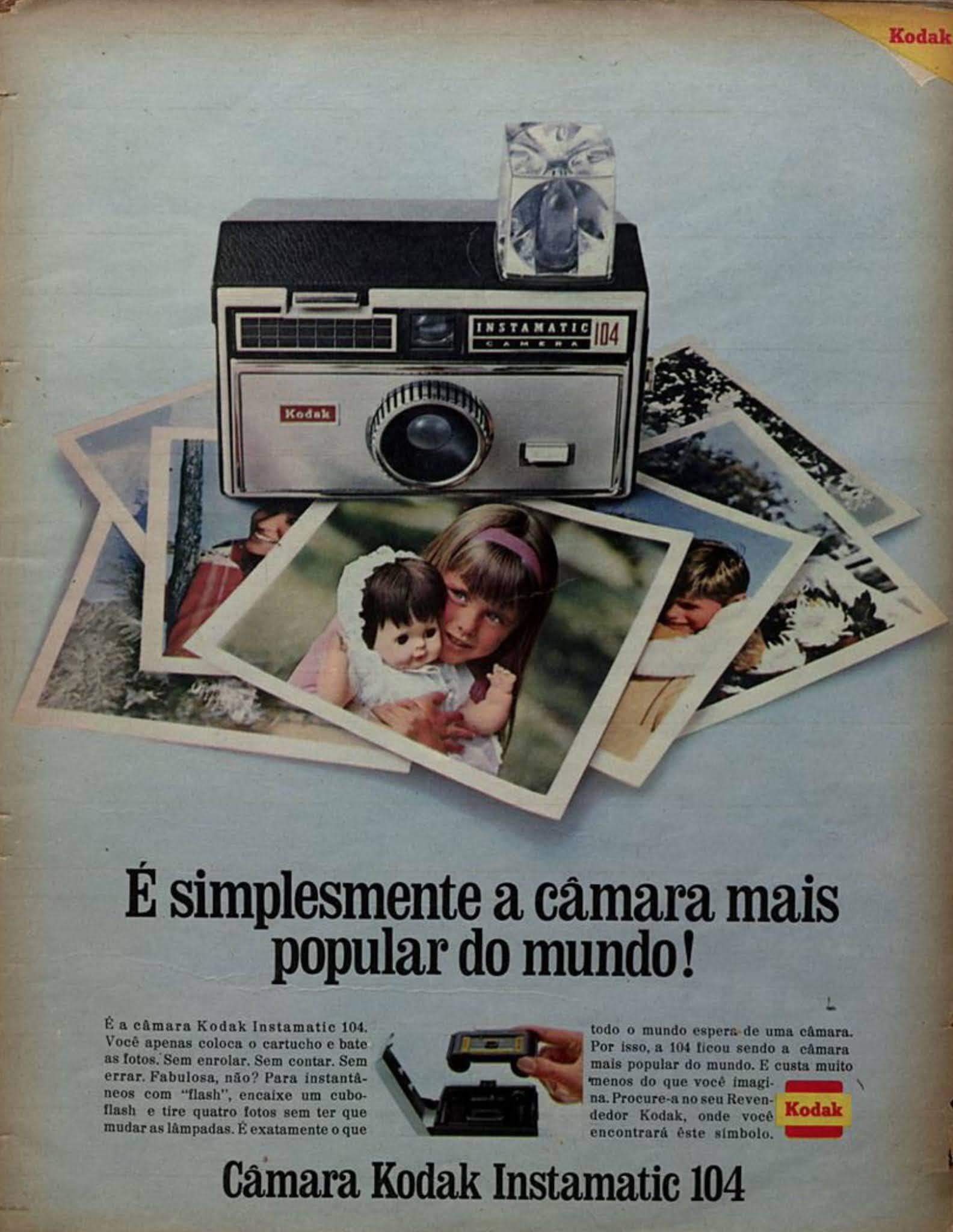 Propaganda antiga da Câmera Instamatic da Kodak apresentada em 1968