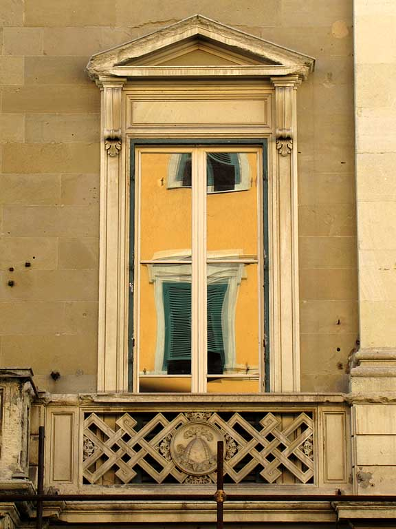 Windows reflected in a window, Palazzo de Larderel, via de Larderel, Livorno