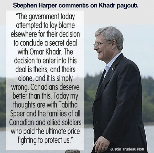 Stephen Harper comments on Khadr payout