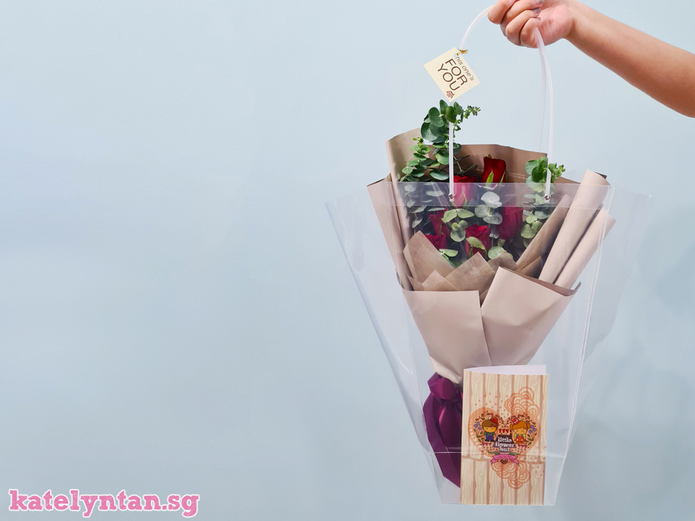 Rose and Eucalyptus flower bouquet from Little Flower Hut Singapore florist with free same day flower delivery