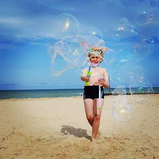 Dan Jon Jr making Bubbles on the Beach