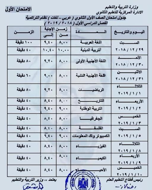جدول امتحانات (1) - الصف الاول الثانوي 2019 - ترم أول