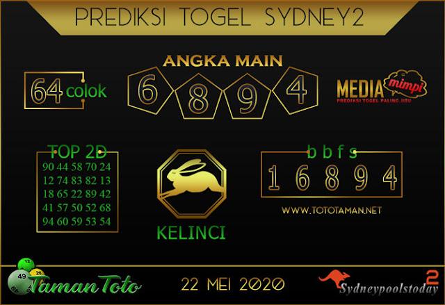 Prediksi Togel SYDNEY 2 TAMAN TOTO 22 MEI 2020