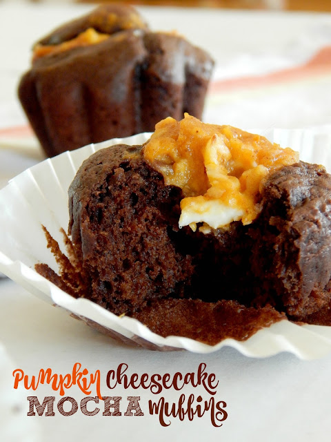 Pumpkin Cheesecake Mocha Muffins...the perfect sweet bit with your morning coffee!  Rich, deep chocolate with a creamy pumpkin filling, studded with coffee flavor! (sweetandsavoryfood.com)