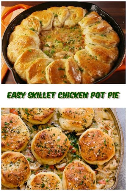 #Easy #Skillet #Chicken #Pot #Pie #chickenrecipes #recipes #dinnerrecipes #easydinnerrecipes