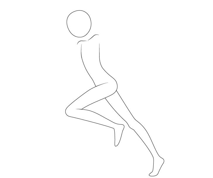 Anime berjalan berpose menggambar kaki