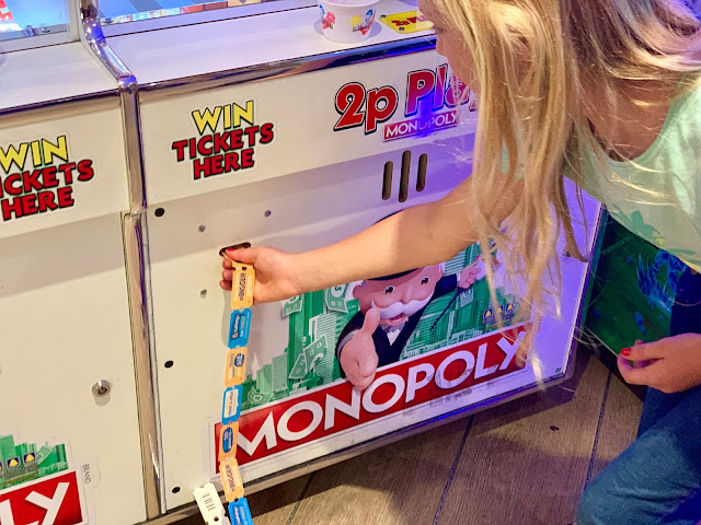Winning tickets on a monopoly 2p machine at RollerBowl arcade