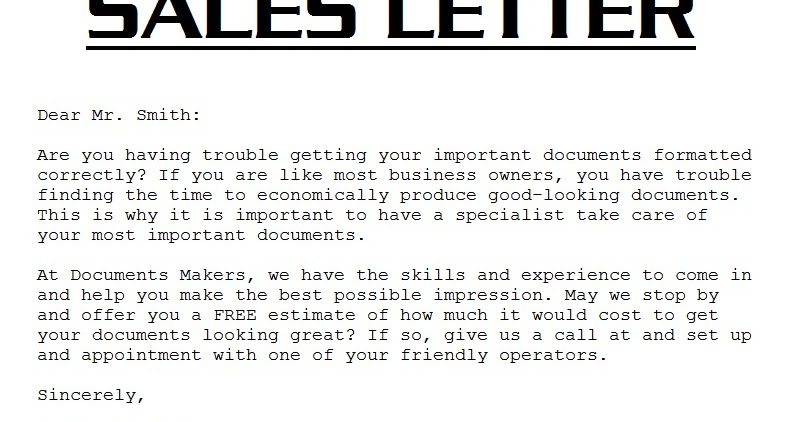 Sample Sales Letter 3000 Sales Letter Template