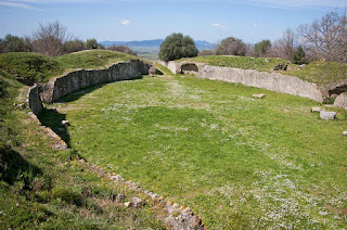 Remains of the Roman amphitheatre at Roselle in the Tuscan Maremma