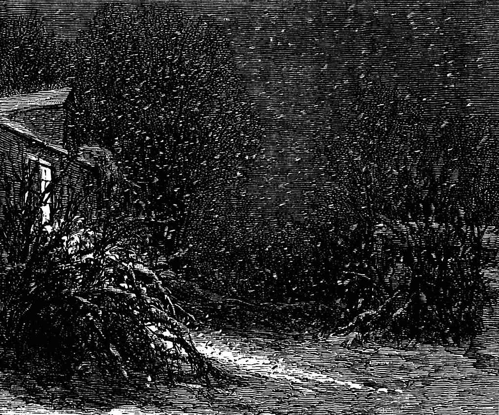 a Harry Fenn book illustration of a home at night in winter