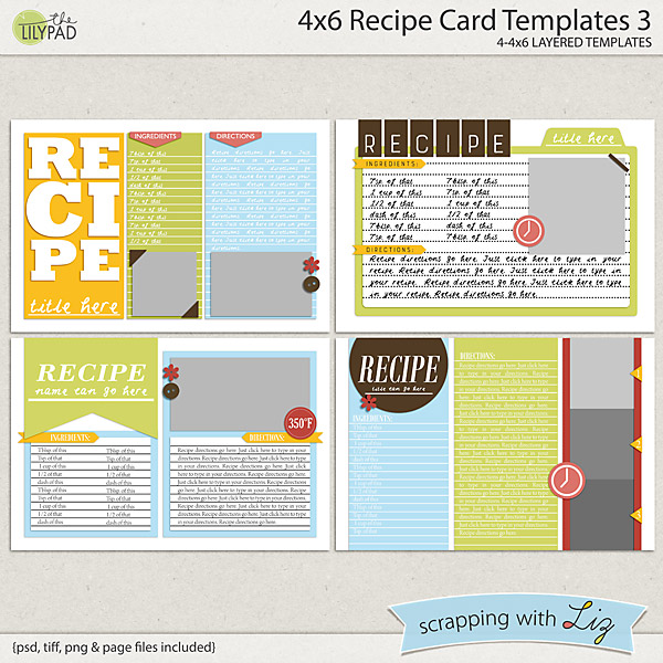 scrapping with liz new recipe card and recipe page templates. Black Bedroom Furniture Sets. Home Design Ideas