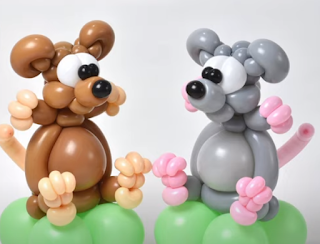 Mäuse aus Luftballons zur Ballondekoration.