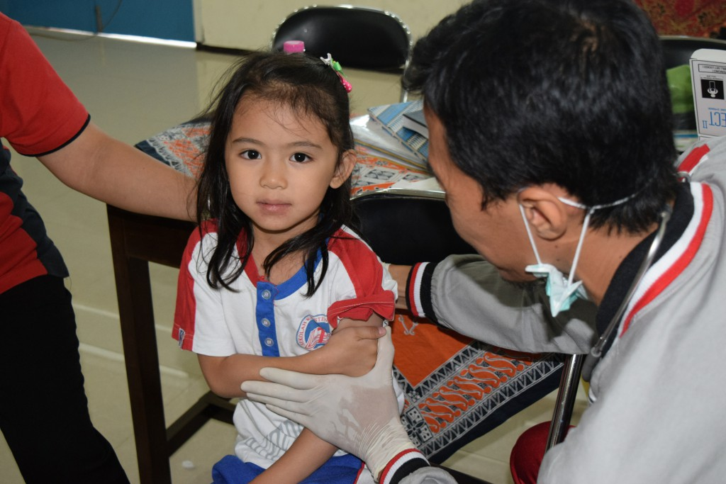 Siswa TK-PK2P2A-Daycare Kalam Kudus Surakarta Tak Takut Vaksinasi