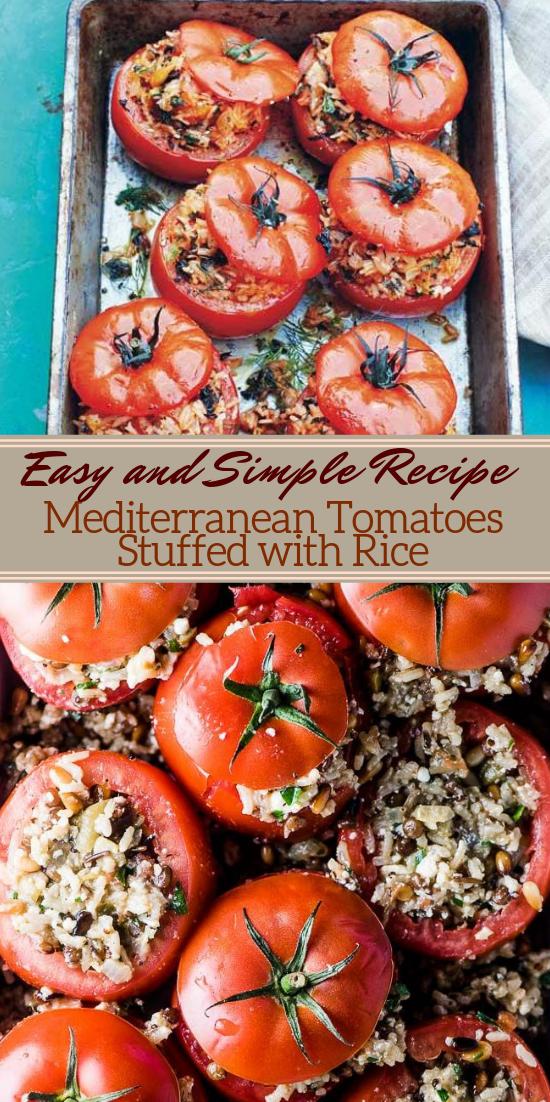Mediterranean Tomatoes Stuffed with Rice #vegan #vegetarian #soup #breakfast #lunch