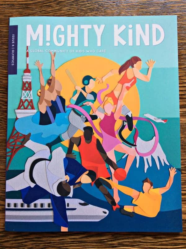 Mighty Kind tijdschriftomslag met collage van atleten in papier gesneden