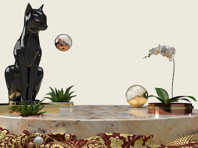 3D Cat decor on marble podium background
