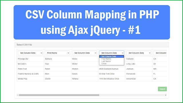 Import Selected CSV File Column in PHP using Ajax jQuery