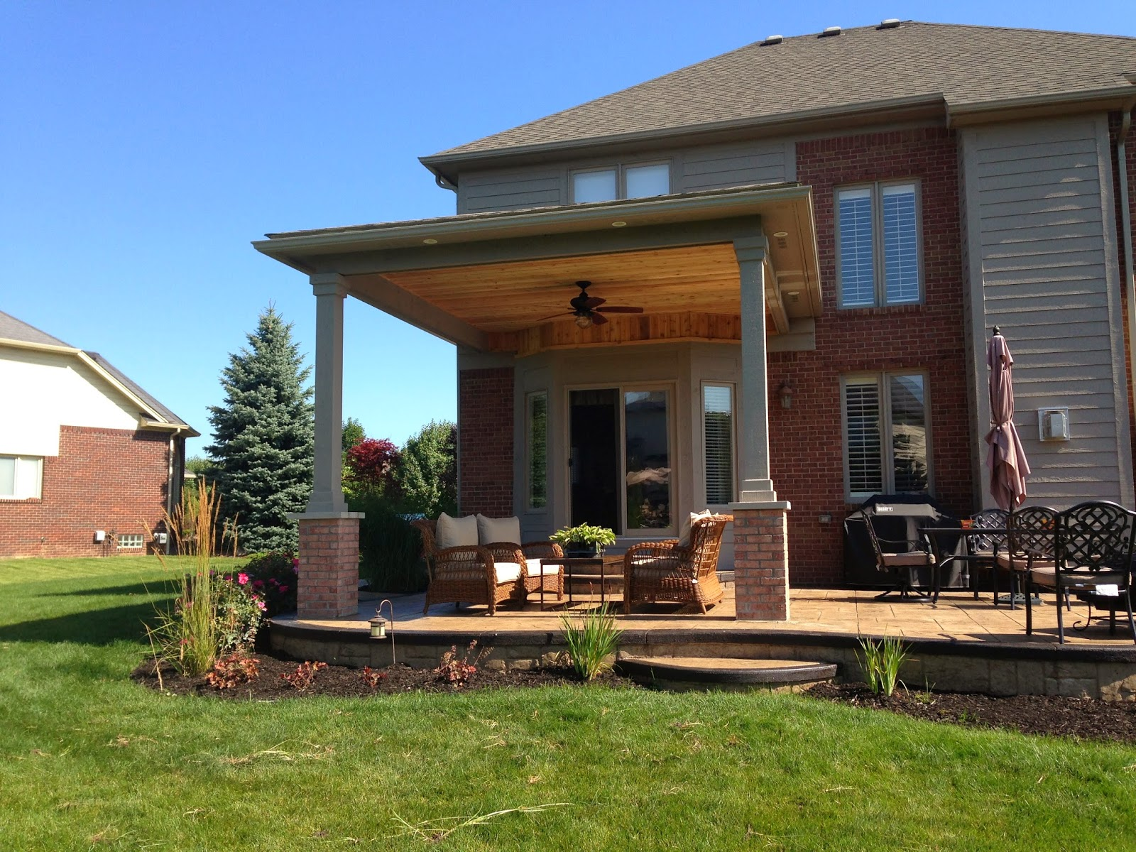 Outdoor Living: Macomb County Michigan covered porch ... on Extended Covered Patio Ideas id=35088